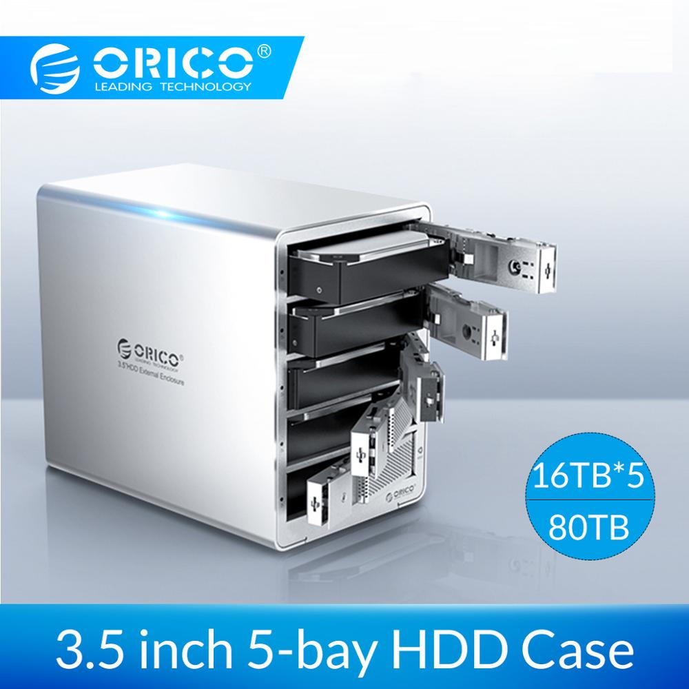 ORICO 3.5 Inch USB3.0 To SATA3.0 HDD Enclosure 5-bay 80TB HDD Docking Station With 150W Power Adapter For Laptop PC HDD Box