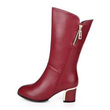 Women Sexy Ankle Boots Med Heeled Shoes Woman Autumn Winter Warm Short Ladies botas mujer Flock