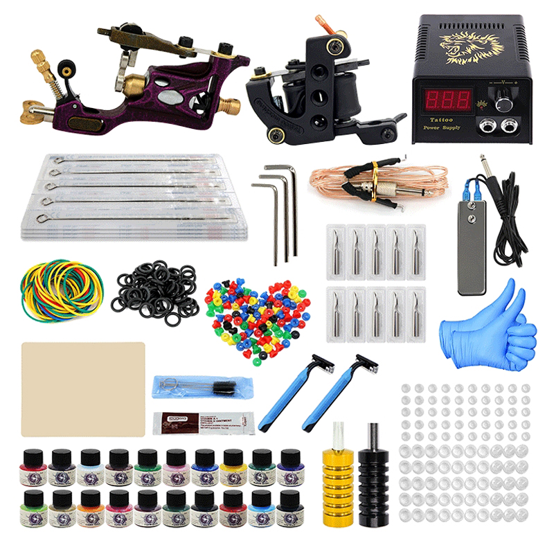 Tattoo Machine Kit Professional Complete 10 Coil 2 Tatoo Guns Power Supply Ink Needle Tip Grip Set for Tatto Artists Top Quality(China)