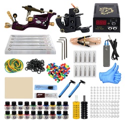 Tattoo Machine Kit Professional Complete 10 Coil 2 Tatoo Guns Power Supply Ink Needle Tip Grip Set for Tatto Artists Top Quality