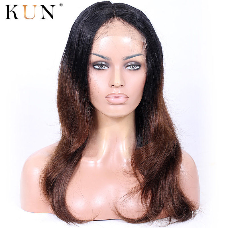 Ombre Human Hair Wig 1B #4 Lace Front Human Hair Wigs Natural Straight 13x6 Lace Front Wig Pre Plucked For Women Brazilian Remy