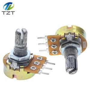 10pcs Potentiometer Resistor 1K 2K 5K 10K 20K 50K 100K 500K 1M Ohm WH148 Linear Potentiometer 2M 15mm 5pins With Nuts And Washer