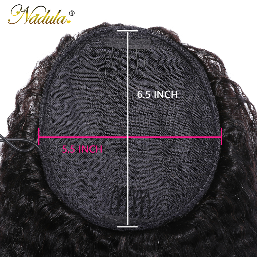 Nadula Hair 10-24inch Kinky Straight Hair Ponytail 1 Pieces Natural Black Clip In Ponytails Drawstring 100%  6