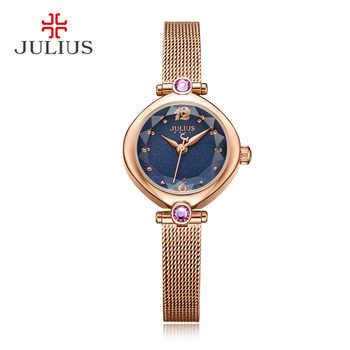 JULIUS 2017 Winter Blau Rose Gold Tone Mesh Edelstahl Quarz Analog Rosa Diamant Modus Uhr Kleid Handgelenk WHatch JA-1010