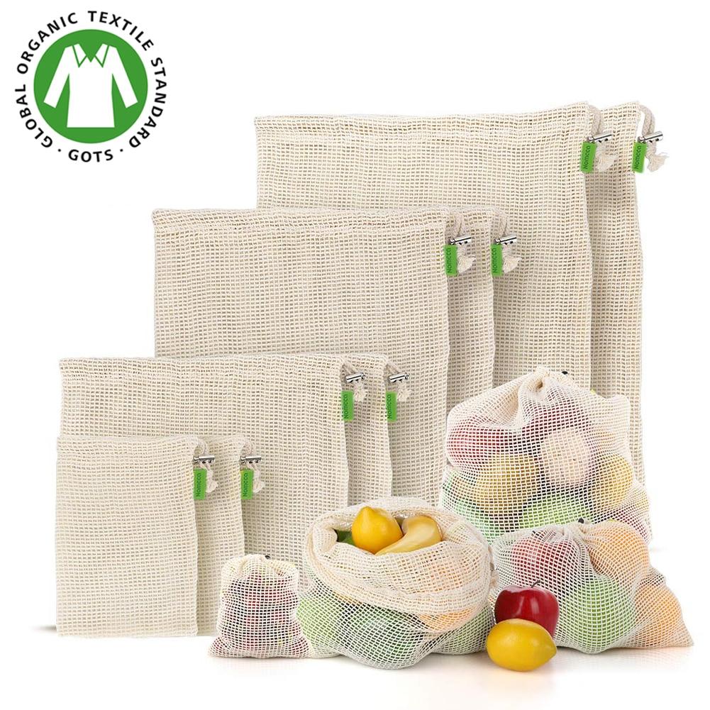 Fruit And Vegetable Bag Reusable Produce Bags - 100% Organic Cotton Mesh Bags - Eco-Friendly, Bio-degradable Kitchen Storage