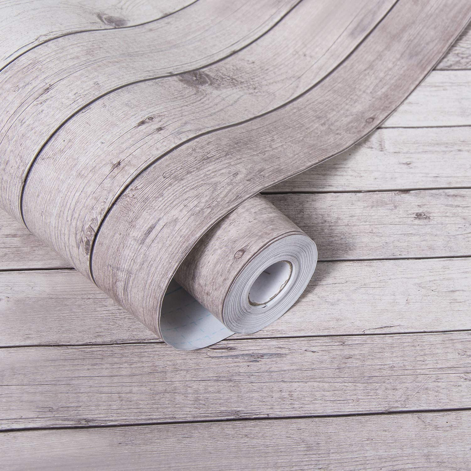 LUCKYYJ Peel and Stick Wallpaper Self Adhesive Removable Wall Decor Reclaimed Wood Look Vinyl Film Shiplap Wood Panel Wallpaper