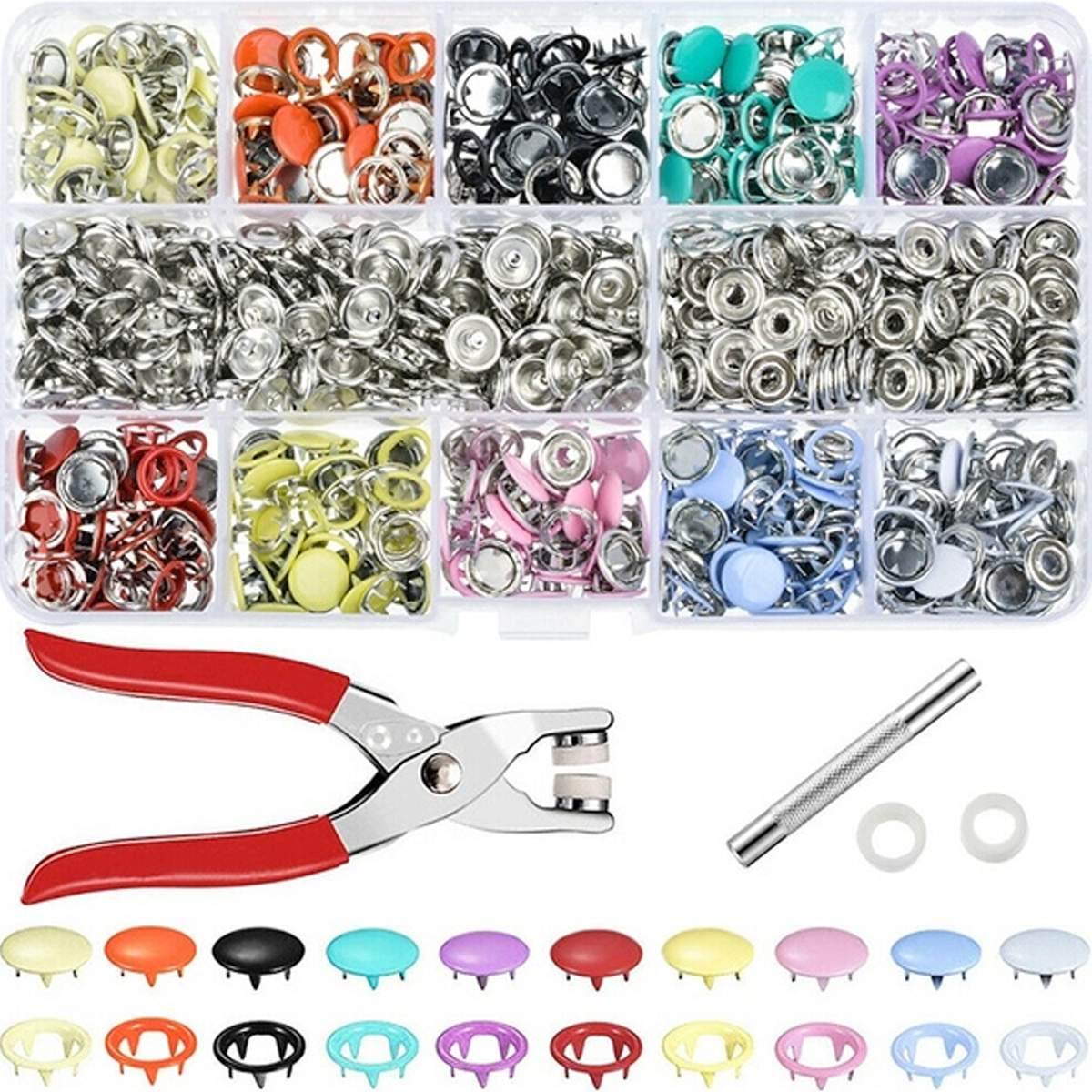 9.5/<font><b>10mm</b></font> 100/200Sets Metal Sewing <font><b>Buttons</b></font> Prong Ring Press Studs Snap Fasteners + Clip Pliers Sewing Tool DIY Clothes Decoration image