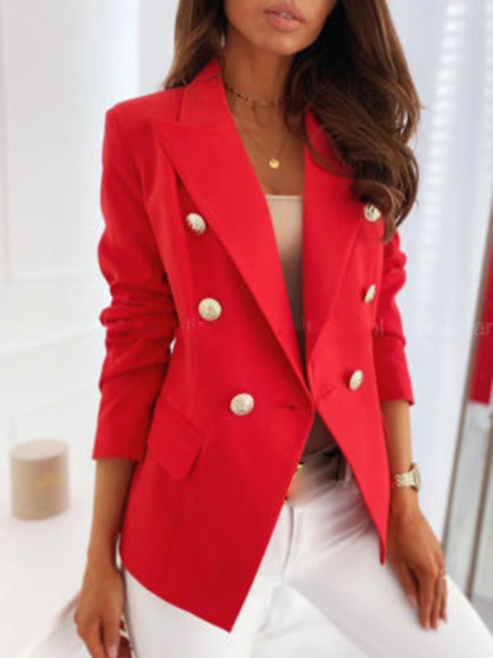 Long Sleeve Double Breasted Solid Color Stand Collar Blazer Suit Coat Autumn Work Bussiness Jacket Plus Size Jackets