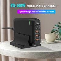 PD 100W Multi GaN Dual USB tipo C caricabatterie rapido per MacBook Air iPad iPhone11 Pro Max XS XR 5 porte Usb Quick Charge 4.0 PD HUB