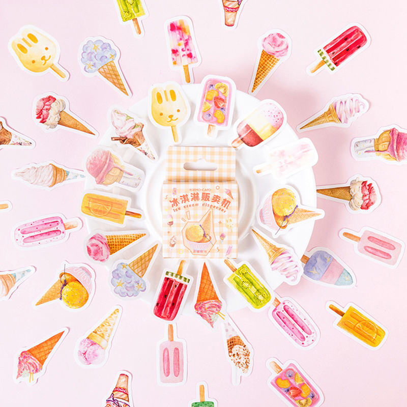 46 Pcs Ice Cream Series Stickers Daily Life Scrapbook Paper Deco Girl Fashion Stationary Sticker Scrapbooking