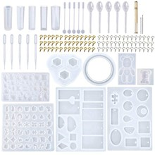 229Pcs Diy Jewelry Casting Molds Tools Set More 9 Silicone Jewelry Resin Molds With 70 Designs 1 Earring Molds With 25 Designs 2(China)