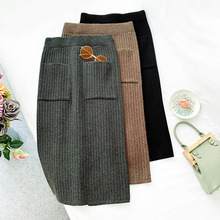 цена Wasteheart Autumn Winter Coffee Women Skirts Fashion High Waist Mid-Calf Skirt Clothing Knitting Long Wool Skirts Rabbit Hair