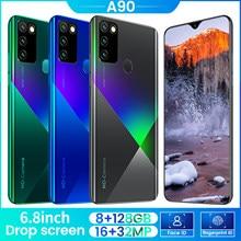6.8 polegada smartphone android a90 8gb 256gb celulares deca núcleo câmera hd telefone 4500mah versão global 4g/5g celular celular phon