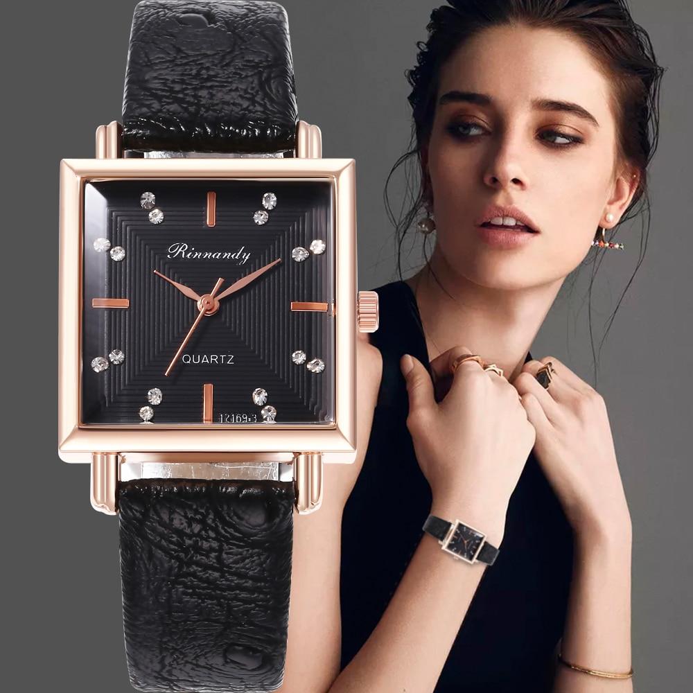 Leather Strap Wrist Watches For Women Fashion Square Small Dial Bracelet Quartz Watch Lady Casual Clock Relogio Feminino