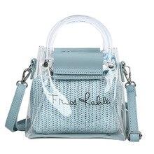 Two Pieces Bags Transparent Pvc Straw Blue Handbag Crossbody Bags Female Sweet Small Handbags Designer Fashion Party Pink Pouch все цены