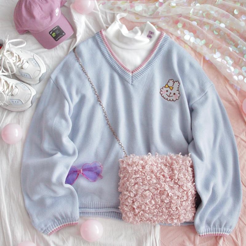 Retro V-neck Women Cute Blue Sweater Kawaii Rabbit Embroidery Girls Knitted Jumper Winter Loose Female Pullover Ladies Knitwear