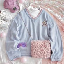 Retro V neck Women Cute Blue Sweater Kawaii Rabbit Embroidery Girls Knitted Jumper Winter Loose Female Pullover Ladies Knitwear