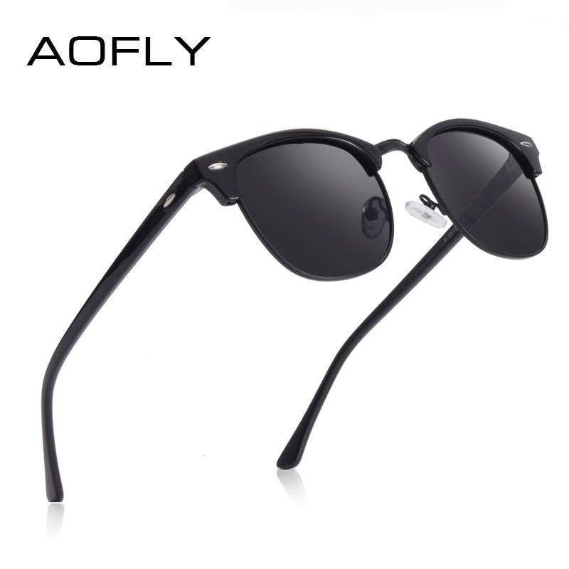 AOFLY брендовые дизайнерские поляризованные солнцезащитные очки, мужские винтажные полуметаллические зеркальные солнцезащитные очки в опра...
