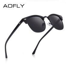 Aofly marca designer polarizado óculos de sol dos homens do vintage meia armação de metal espelho óculos de sol para feminino masculino zonnebril heren uv400