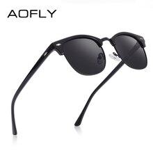 AOFLY Brand Designer Polarized Sunglasses Men Vintage Half Metal Frame Mirror Su