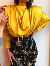 2019 Autumn Women Elegant Yellow Solid Party Top Female OL style Casual Shirt High Neck Batwing Sleeve Drape Front Blouse недорого