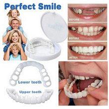 Natural cosméticos falso dente capa snap em silicone perfeito sorriso folheados dentes superior ferramenta de beleza dentes para homens mulher confortável