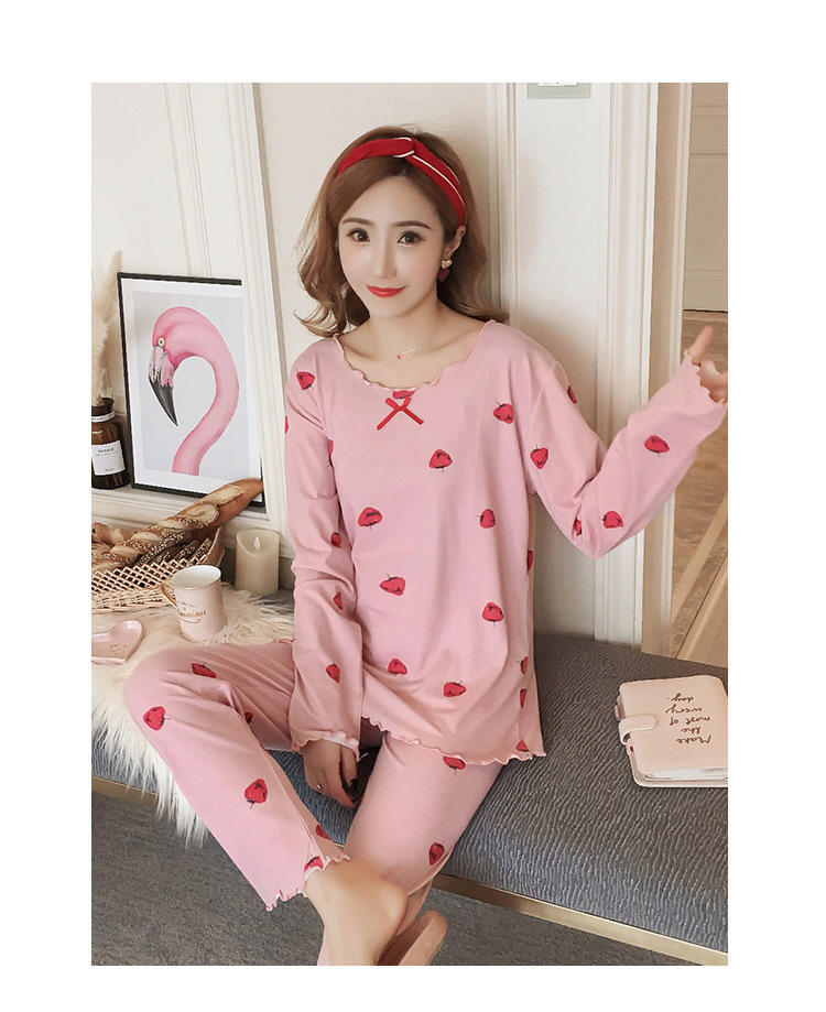 Autumn Women Cotton Pajamas Sets 2 Pcs Cartoon Printing Pijama Pyjamas Long Sleeve Bowknot Pyjama Sleepwear Sleep Set 61