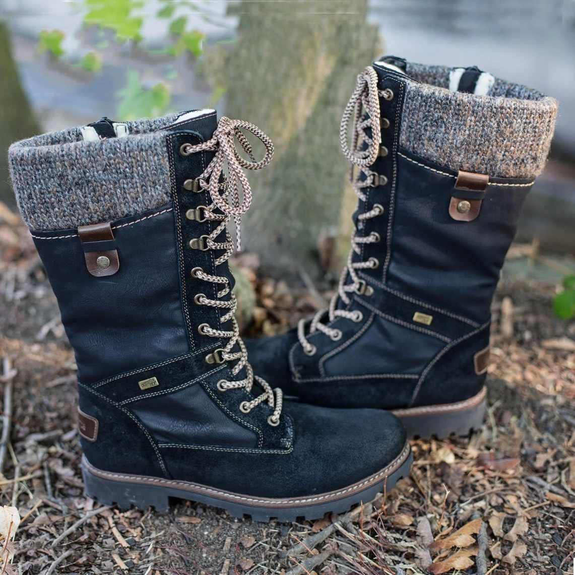 LOOZYKIT kışlık botlar kadınlar temel kadın orta buzağı çizmeler yuvarlak ayak Zip platformu dekor kadın ayakkabısı sıcak Lace Up Boots ayakkabı