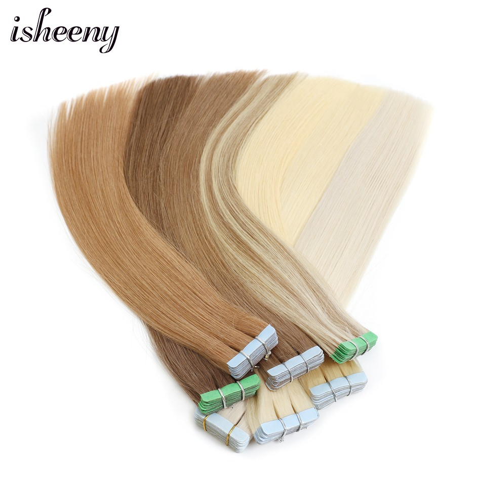 """Isheeny Remy Human Hair Tape Extensions Straight 12""""-22"""" Skin Weft Seamless Hair Extension Samples For Salon Hair Testing"""