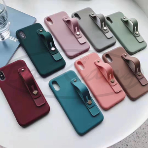 Image 4 - Plain Color Wrist Band Hand Band Finger Grip Mobile Phone Holder Stand Push Pull Universal Phone Socket Holder For Iphone