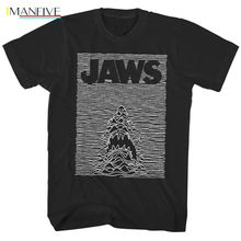купить Jaws Shark Joy Division Parody Men's T Shirt Movie Poster Black Ocean Waves BiteHigh quality Men T shirt Casual Short sleeve по цене 874.06 рублей