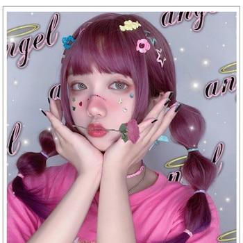 цена на Uwowo Long Straight Purple Wig Cosplay Lolita Wigs Heat Resistant Synthetic Hair Anime Party wigs