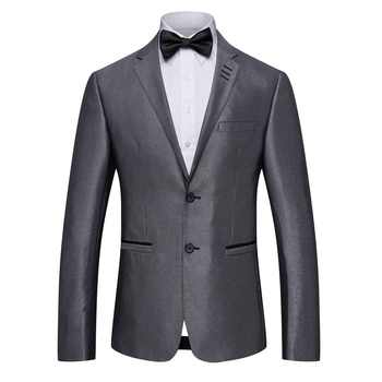 S-4XL New Men\'s Grey Business Suits Men Casual Groom Groomsmen Wedding Suit+Trousers for Male Autumn Winter