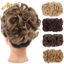 Curly Chignon Hair-Extension Hairpiece Updo Messy Clip-In Synthetic Women for Combs Allasosify