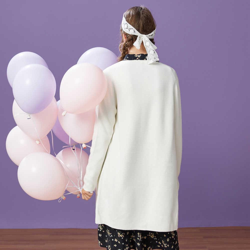 Metersbonwe, вязаный кардиган, свитер для женщин, 2019, осень, зима, простая нижняя одежда с цветочным принтом, модный кардиган для женщин