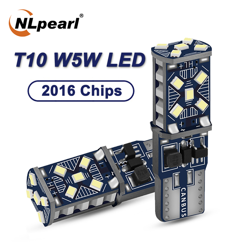 NLpearl 2x Signal Lamp T10 Led 15SMD 2016 Chip Light Bulbs W5W T10 Led Canbus Clearance Light Reading Lights Interior Lights 12V