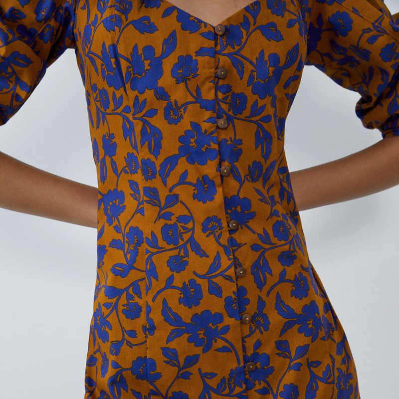 Fandy Lokar V ネックボタンドレス女性のファッションパフスリーブドレス女性のエレガントなプリントドレス女性胡