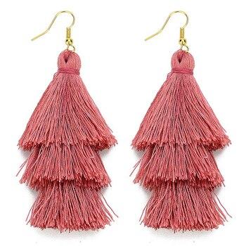 3 Layered Bohemian Fringed Luxury Statement Tassel Earrings Boho Indian Jewelry boho earrings valentine earrings Drop Earrings 1