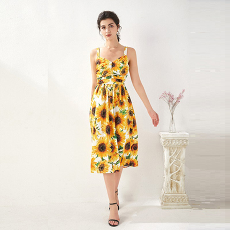 Fashion Summer Women <font><b>Yellow</b></font> <font><b>Sunflowers</b></font> Floral Print Runway <font><b>Dress</b></font> Elegant Spaghetti Strap Party <font><b>Dresses</b></font> image