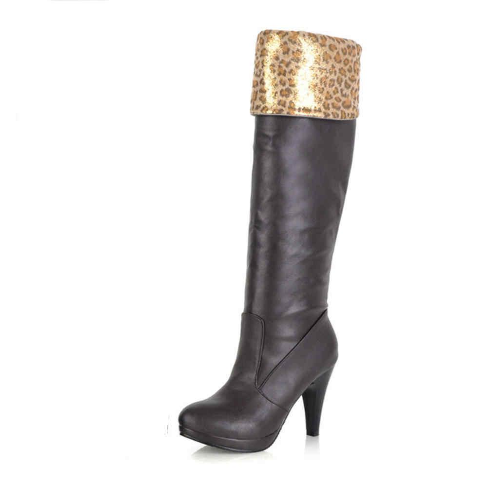 Karinluna Büyük Boy 43 Başak Yüksek Topuklu Katı Zarif Ayakkabı Kadın Botları Kadın Moda Diz çizmeler kadın ayakkabıları 2019