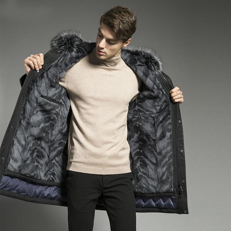 Real Fur Coat Rabbit Fur Coat Winter Jacket Men Goose Down Jacket Warm Parkas Plus Size Jackets Casaco 18P9134-2 YY1088