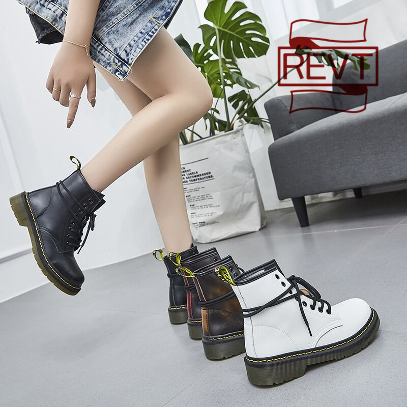 REVT 2020 new style womens Genuine Leather fashion Martin boots British style girls Motorcycle boots womens shoes