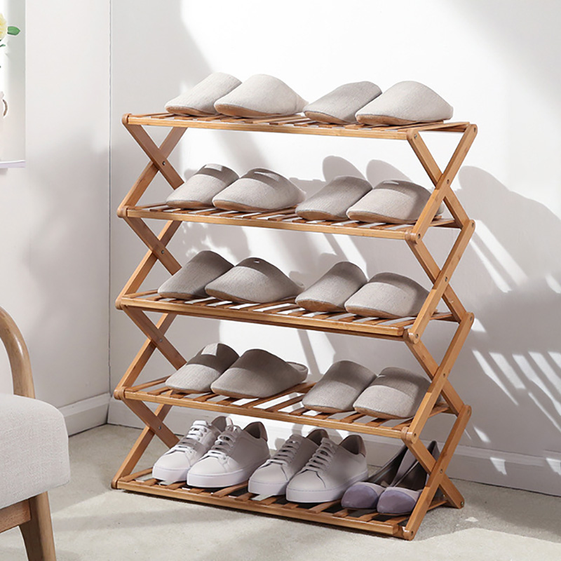 Multi-layer Shoe Rack Simple Household Economical Rack Dormitory Door Storage Rack Installation-free Folding Bamboo Shoe Cabinet