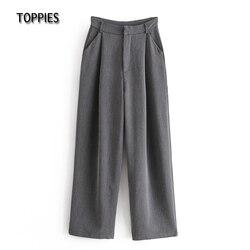 Toppies Woman Grey Suit Pants High Waist Wide Leg Pants Female Elegant Full Length Trousers Casual Streetwear