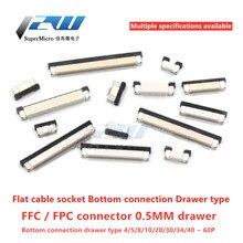 10pcs Conector FPC FFC 0.5 milímetros 1,0 milímetros cabo plano conector do PWB do SMT ZIF conectar abaixo 4 6 8 10 12 18 20 26 28 30 32 36 40 50 54 60P