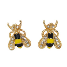 Fashion Cute Women Small Bee Crystal Insect Stud Earrings Lovely Popular Golden  Jewelry Accessory Gift cretaceous very rare fern leaf burmite myanmar amber insect 100 million years lynx stone men women golden jewelry accessory