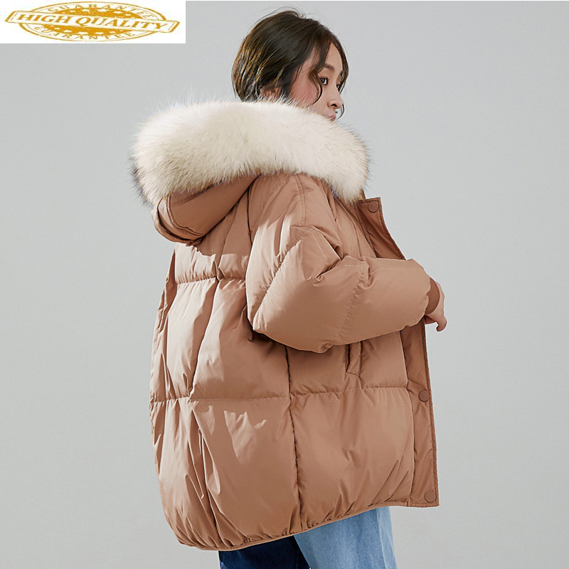 Down Jacket Woman Hooded Korean Parka Winter Coat Women Clothes 2019 Raccoon Fur Collar Loose Parkas Abrigo Mujer MY1525