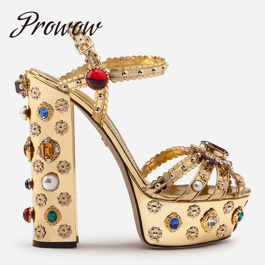 Prowow New Spring Summer Metallic Leather Crystal Jewel Beading Sandals Open Toe Sexy Platform Super HIgh Heel Sandals Shoes Wom