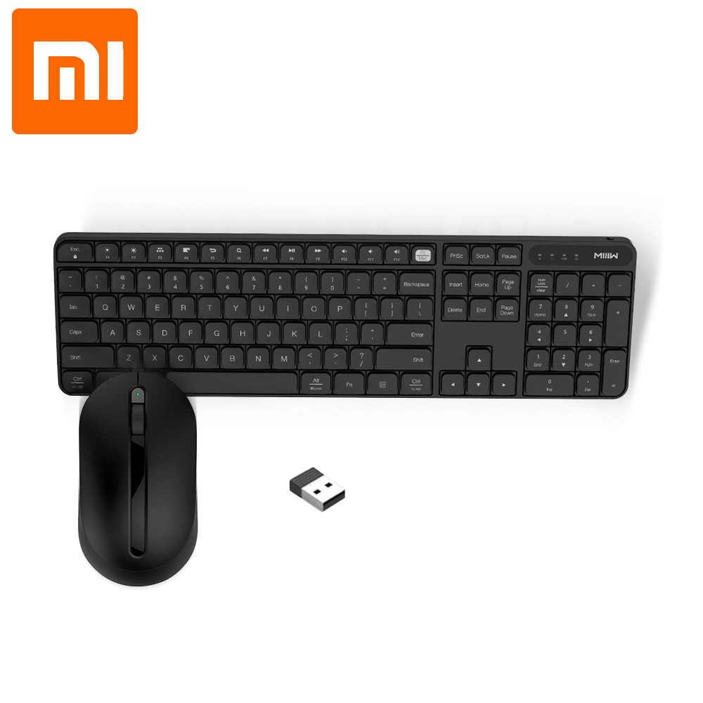 Asli Xiaomi Miiiw Nirkabel Office Keyboard & Mouse Set 104 Kunci 2.4GHz Windows PC MAC Kompatibel Portabel USB Keyboard