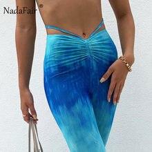 Nadaffair tie dye calças femininas design ruched bandagem cintura alta alargamento calças 2021 gradiente sexy calças femininas roupas estéticas